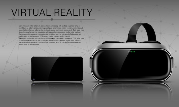 Realtà virtuale, casco di realtà virtuale e telefono nero con riflesso e ombra, modello vr orizzontale