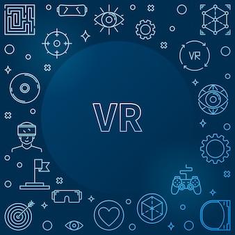 Struttura blu di vettore del profilo di concetto di realtà virtuale o di vr