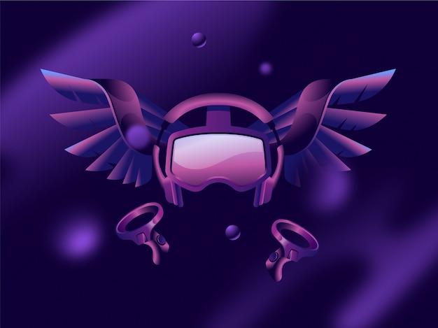 Realtà virtuale impostazione di gioco vr fantasia concetto 3d guardando lo sfondo