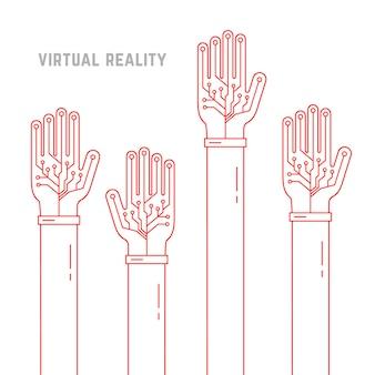 Realtà virtuale con le mani in linea sottile in alto. concetto di finzione ar, layout vr, interfaccia utente dati, smart palm, attrezzatura per braccio geek. stile piatto tendenza moderna grafica vettoriale illustrazione su sfondo bianco