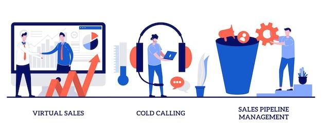 Vendite virtuali, chiamate a freddo, concetto di gestione della pipeline di vendita con persone minuscole