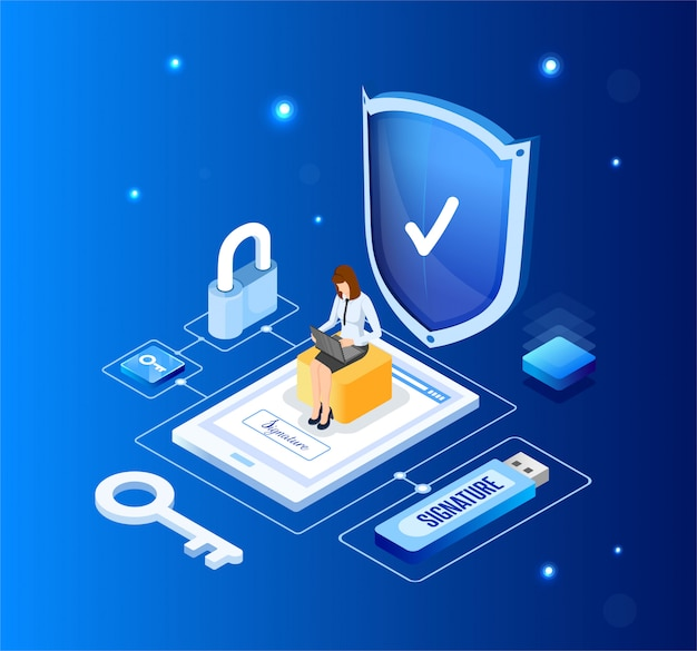 Firma virtuale. chiave digitale per i dati personali. illustrazione in stile isometrico.