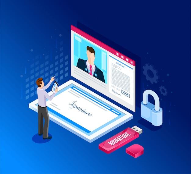 Firma virtuale del documento. firma digitale. illustrazione in stile isometrico.