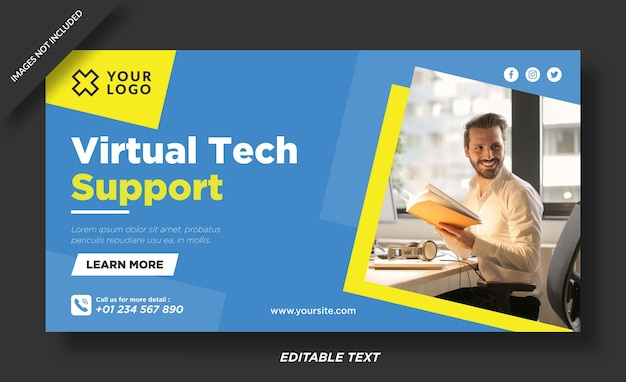 Sito web banner di supporto tecnico virtuale e modello di social media