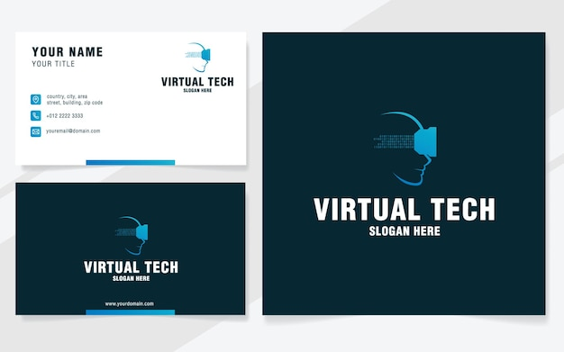 Modello di logo della tecnologia virtuale in stile moderno