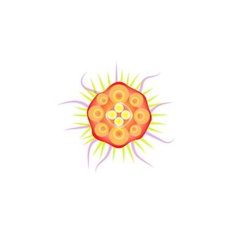 Icona piana astratta del virus, batteri arancioni con tentacoli, influenza al microscopio. logo vettoriale delle cellule di malattia virale, vista dall'alto del microrganismo su priorità bassa bianca. germe colorato