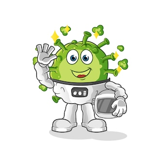 Virus astronauta sventolando carattere