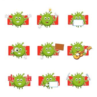 Collezione di set di caratteri mascotte dei cartoni animati di virus