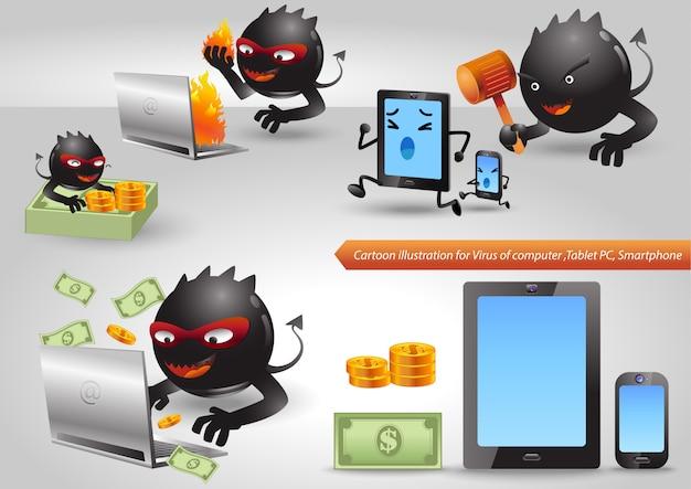 Set di caratteri di computer del virus