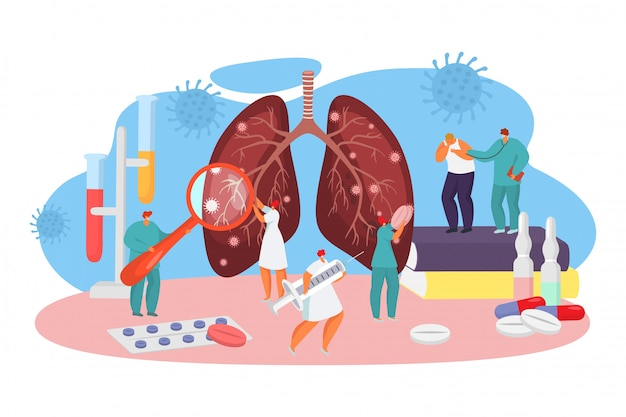 Trattamento del coronavirus del virus in ospedale, illustrazione. i medici esaminano i polmoni infetti da batteri e vengono vaccinati.