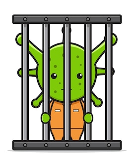 Illustrazione di vettore dell'icona del fumetto imprigionato virus covid-19. design piatto isolato in stile cartone animato isolated