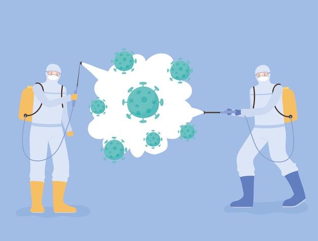 Disinfezione da virus, coronavirus covid 19, scienziati medici in tute ignifughe che puliscono e disinfettano le cellule del coronavirus