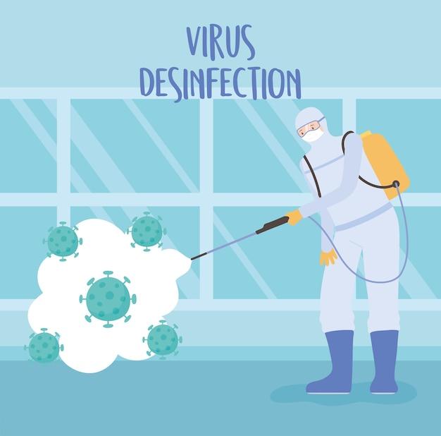 Disinfezione da virus, coronavirus covid 19, misura preventiva focolaio, uomo con tuta protettiva e maschera