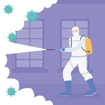 Disinfezione da virus, uomo in tuta hamzat pulizia e disinfezione, coronavirus covid 19, misura preventiva