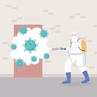 Disinfezione da virus, uomo in tuta ignifuga che pulisce e disinfetta le cellule del coronavirus da pandemia, misura preventiva
