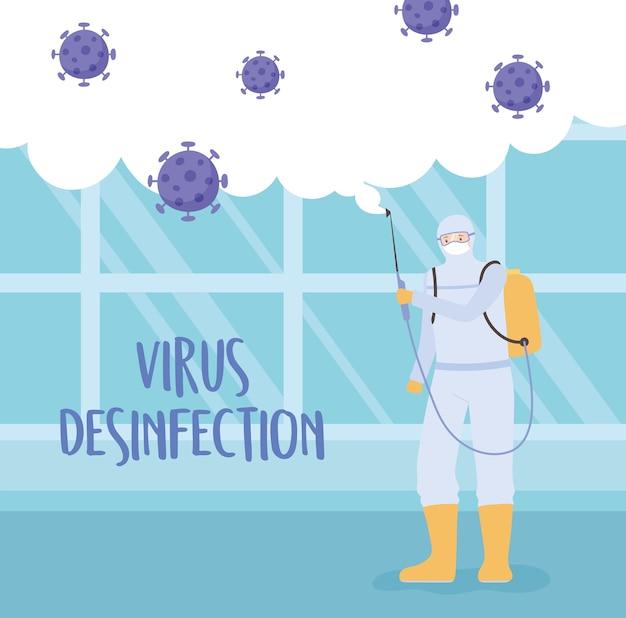 Disinfezione da virus, uomo che indossa una tuta protettiva, maschera e attrezzatura per la pulizia, covid 19 coronavirus, misura preventiva