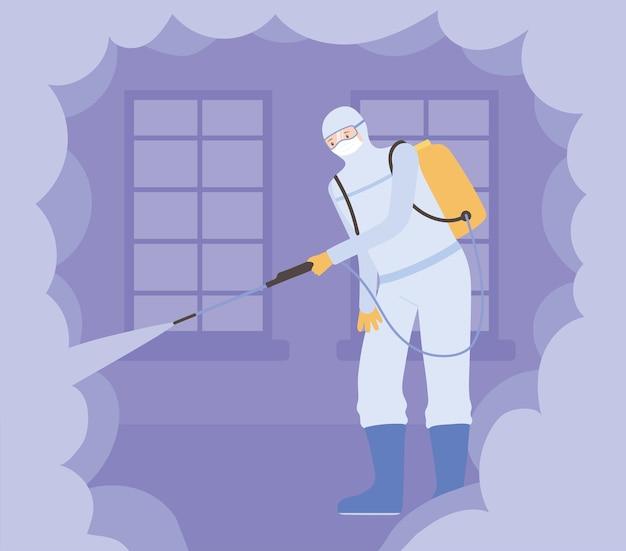 Disinfezione da virus, uomo che indossa tuta protettiva rischio per la salute pandemica, disinfettante virus batterico
