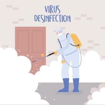 Disinfezione da virus, maschera protettiva medica del lavoratore e tuta per la pulizia e disinfezione della casa, coronavirus covid 19, misura preventiva