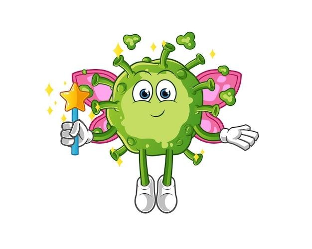 Fata virus con ali e personaggio stilizzato