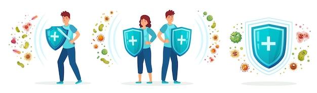 Protezione da germi virali e batteri. sistema immunitario sano, uomo adulto e donna protetti da virus e batteri mediante set di illustrazioni di scudo di immunità.