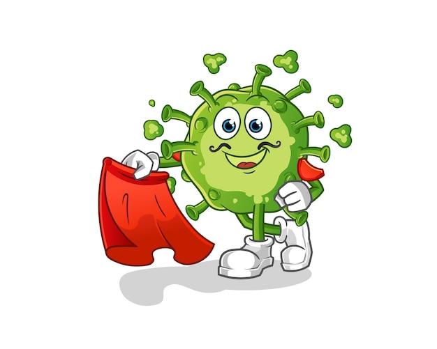 Matador virus con illustrazione di panno rosso