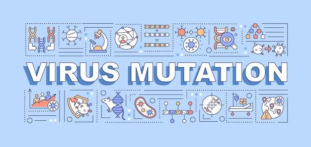 Banner di concetti di parola di mutazione del virus