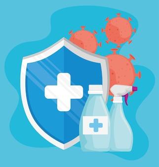 Particelle di virus con prodotti di bottiglie disinfettanti e illustrazione di scudo