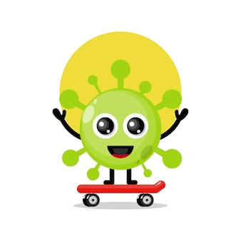 Virus che gioca a skateboard simpatico personaggio mascotte