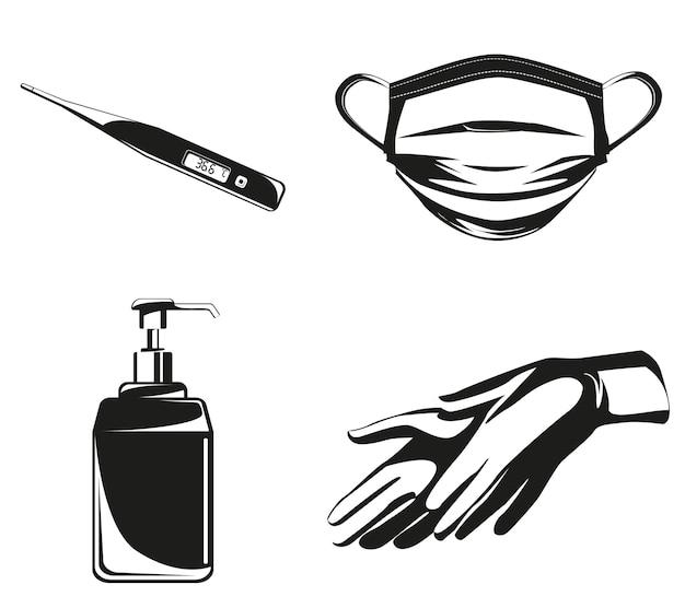 Set di attrezzature per la prevenzione dei virus. kit medico in stile monocromatico.