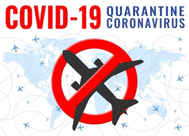 Quarantena di virus dall'aeroplano del segno di divieto dell'aeroplano di wuhan