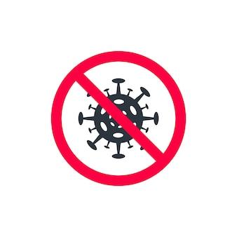 Virus in cerchio barrato in rosso, poster design con molecola di coronavirus in cerchio rosso incrociato. illustrazione vettoriale. segno virus proibito in cerchio rosso barrato su sfondo bianco