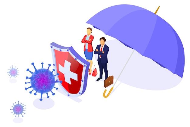 Ceppo virale con scudo e ombrello proteggono uomini e donne d'affari. quarantena dal nuovo coronavirus. focolaio pandemico di coronavirus. illustrazione isometrica
