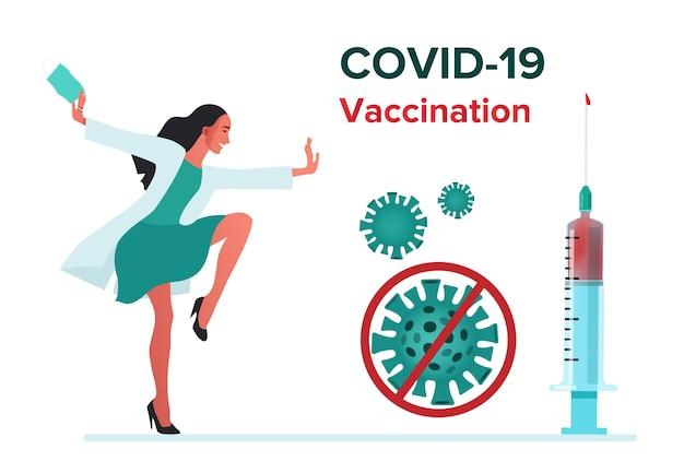 Poster di vaccino contro il virus. felice dottore ballando.