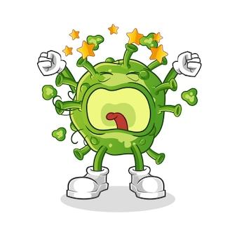 Carattere di sbadiglio del virus. mascotte dei cartoni animati