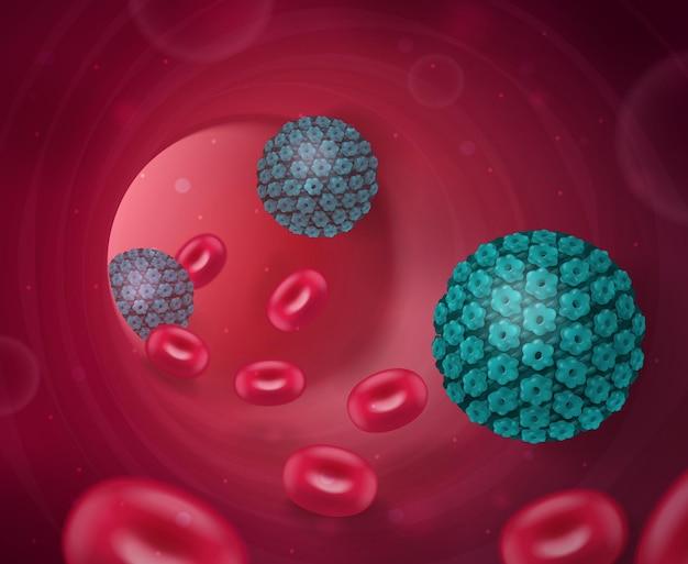 Virus composizione realistica con vista all'interno del tubo della vena umana con cellule del sangue e batteri nocivi