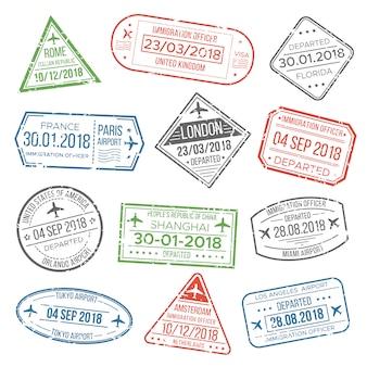 Visa passaporto cachet o francobolli di immigrazione aeroporto con paese inquadratura.