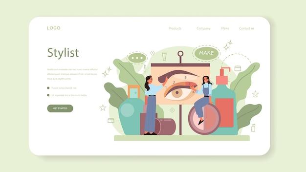 Banner web o pagina di destinazione di visagiste