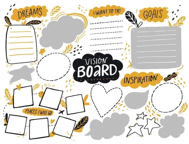 Modello di scheda di visione con spazio per l'elenco degli obiettivi, piani di viaggio e ispirazione pagina collage journal