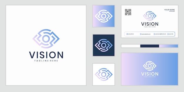 Visione. logo dell'occhio. segno di controllo video. soluzione aziendale intelligente.