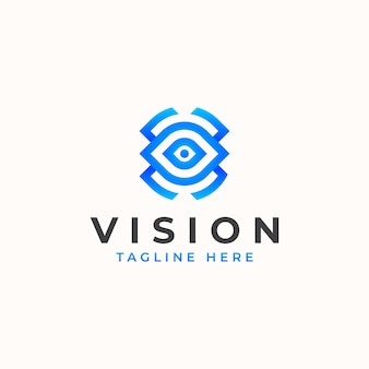 Vision eye monogram concept logo template