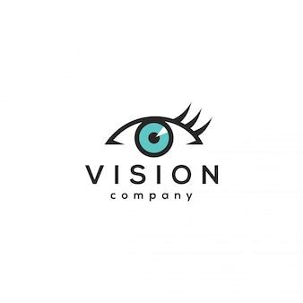 Concetto di logo di visione, modello di progettazione dell'occhio.