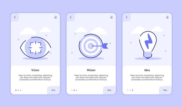 Vision mission idea per l'onboarding di app mobili sullo schermo