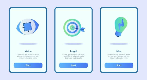 Schermata dell'idea del target di visione per app mobili