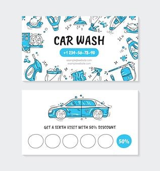 Biglietto da visita per l'autolavaggio e i dettagli dell'auto in stile doodle