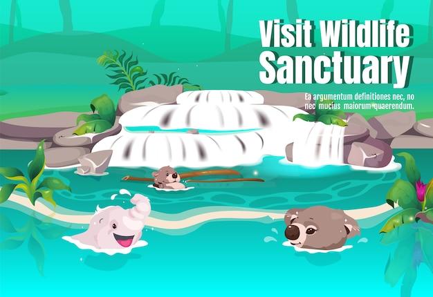 Visita il modello piatto del manifesto del santuario della fauna selvatica. simpatici animali nuotano nel flusso d'acqua. legni tropicali. brochure, booklet one page concept design con personaggi dei cartoni animati. volantino giungla, volantino