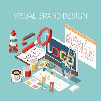 Progettazione visiva e composizione del brand building con postazione di lavoro di graphic designer 3d
