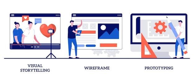 Narrazione visiva, wireframe e concetto di prototipazione con persone minuscole. insieme del layout della pagina web. esperienza utente, concetto di design, pagina di destinazione, metafora dell'applicazione digitale.