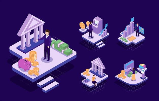 Visual con il giovane uomo d'affari e la donna hanno in programma di lavorare e creare un obiettivo finanziario. concetto di lavoro tecnologico, illustrazione isometrica