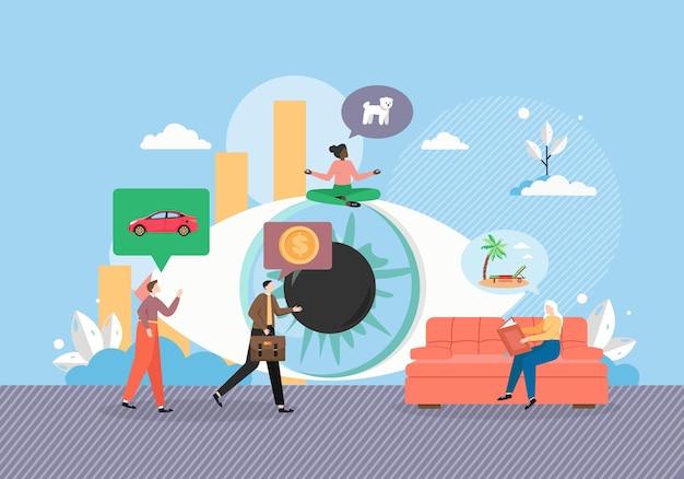 Visualizzazione. occhio umano gigante, piccoli personaggi maschili e femminili che desiderano un'auto nuova
