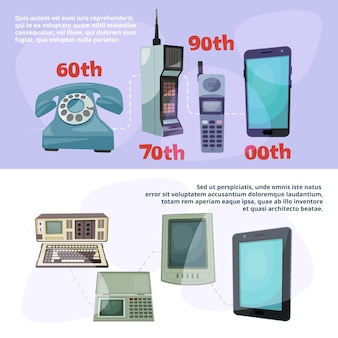 Visualizzazione del progresso tecnologico. banner con diversi gadget retrò